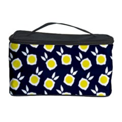Square Flowers Navy Blue Cosmetic Storage Case