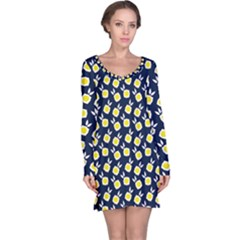Square Flowers Navy Blue Long Sleeve Nightdress