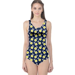 Square Flowers Navy Blue One Piece Swimsuit