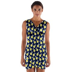 Square Flowers Navy Blue Wrap Front Bodycon Dress