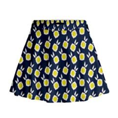 Square Flowers Navy Blue Mini Flare Skirt