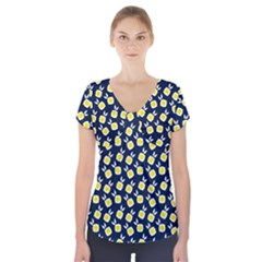 Square Flowers Navy Blue Short Sleeve Front Detail Top