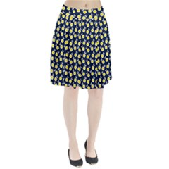 Square Flowers Navy Blue Pleated Skirt