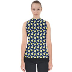 Square Flowers Navy Blue Shell Top