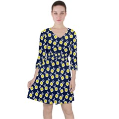 Square Flowers Navy Blue Ruffle Dress