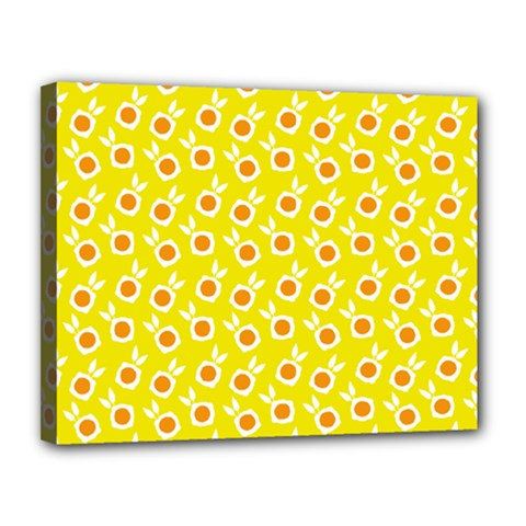 Square Flowers Yellow Canvas 14  X 11