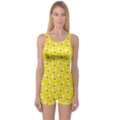Square Flowers Yellow One Piece Boyleg Swimsuit