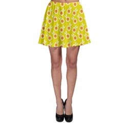 Square Flowers Yellow Skater Skirt