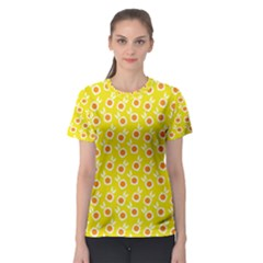 Square Flowers Yellow Women s Sport Mesh Tee