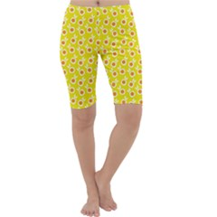 Square Flowers Yellow Cropped Leggings