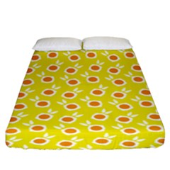 Square Flowers Yellow Fitted Sheet (king Size)