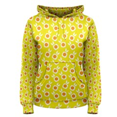 Square Flowers Yellow Women s Pullover Hoodie
