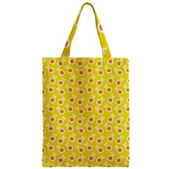 Square Flowers Yellow Zipper Classic Tote Bag