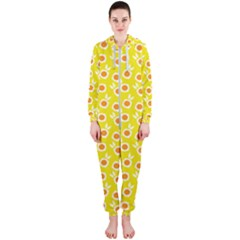 Square Flowers Yellow Hooded Jumpsuit (ladies)