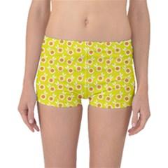 Square Flowers Yellow Boyleg Bikini Bottoms