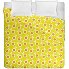Square Flowers Yellow Duvet Cover Double Side (king Size)