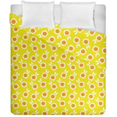 Square Flowers Yellow Duvet Cover Double Side (california King Size)