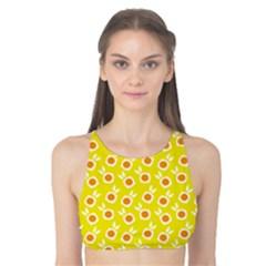 Square Flowers Yellow Tank Bikini Top