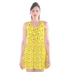 Square Flowers Yellow Scoop Neck Skater Dress