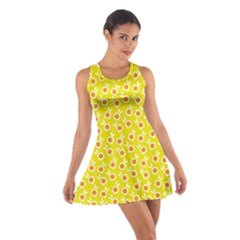Square Flowers Yellow Cotton Racerback Dress