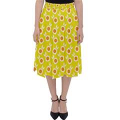 Square Flowers Yellow Folding Skater Skirt
