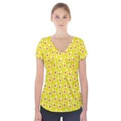 Square Flowers Yellow Short Sleeve Front Detail Top