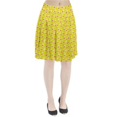 Square Flowers Yellow Pleated Skirt