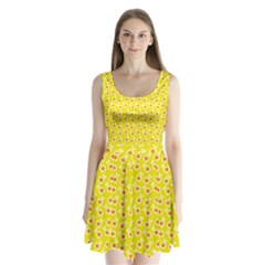 Square Flowers Yellow Split Back Mini Dress
