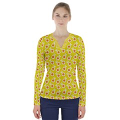 Square Flowers Yellow V Neck Long Sleeve Top