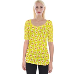 Square Flowers Yellow Wide Neckline Tee