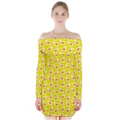 Square Flowers Yellow Long Sleeve Off Shoulder Dress