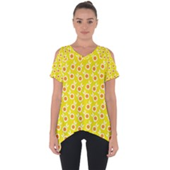 Square Flowers Yellow Cut Out Side Drop Tee