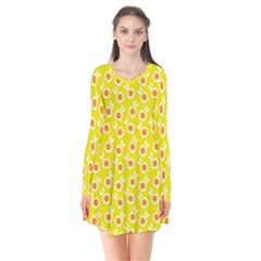 Square Flowers Yellow Flare Dress