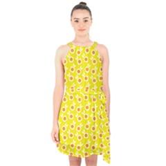 Square Flowers Yellow Halter Collar Waist Tie Chiffon Dress