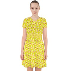 Square Flowers Yellow Adorable In Chiffon Dress