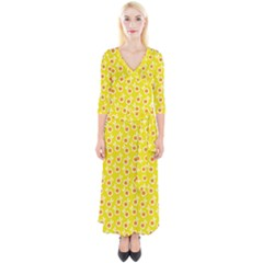 Square Flowers Yellow Quarter Sleeve Wrap Maxi Dress