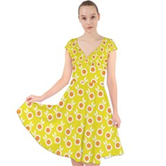 Square Flowers Yellow Cap Sleeve Front Wrap Midi Dress