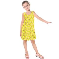 Square Flowers Yellow Kids  Sleeveless Dress