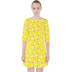 Square Flowers Yellow Pocket Dress