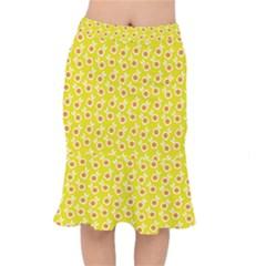 Square Flowers Yellow Mermaid Skirt