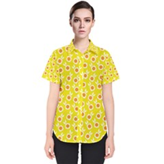 Square Flowers Yellow Women s Short Sleeve Shirt