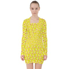 Square Flowers Yellow V Neck Bodycon Long Sleeve Dress