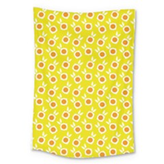 Square Flowers Yellow Large Tapestry