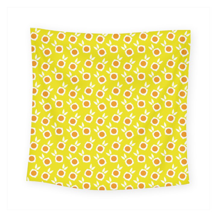 Square Flowers Yellow Square Tapestry (Small)