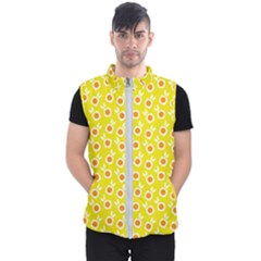Square Flowers Yellow Men s Puffer Vest