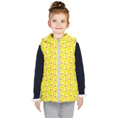 Square Flowers Yellow Kid s Puffer Vest