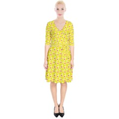 Square Flowers Yellow Wrap Up Cocktail Dress