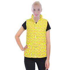 Square Flowers Yellow Women s Button Up Puffer Vest