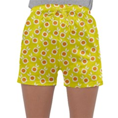 Square Flowers Yellow Sleepwear Shorts