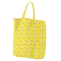 Square Flowers Yellow Giant Grocery Zipper Tote
